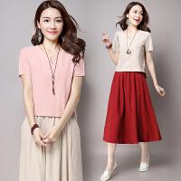 波柏龙 夏新款棉麻文艺大码女装两件套连衣裙