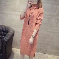 女装针织衫2019秋冬新款韩版女装半高领宽松长袖打底衫中长款套头过膝毛衣裙
