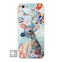 iphone6plus手机壳文艺小鹿西方创意8防摔复古油画苹果X硅胶7软壳