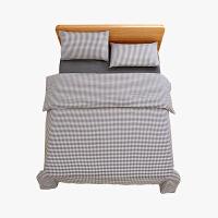 当当优品家纺 纯棉日式色织水洗棉床品 1.8米床 床笠四件套 格子烟墨