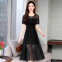 蕾丝连衣裙2019新款夏季圆领女装时尚气质长裙中长款显瘦修身裙子
