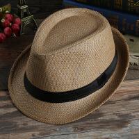 20180822225748254男士夏季遮阳帽草帽情侣草编爵士帽韩版帽子女士太阳沙滩帽子款
