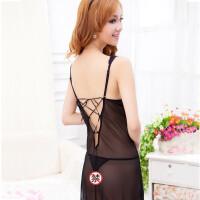 性感睡衣女诱惑两件套蕾丝吊带睡裙夏季透明网纱情趣内衣 155(S) 适合80至94斤