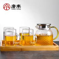 唐丰冷水壶玻璃耐高温锤纹侧把茶壶电热烧水煮茶壶带盖过滤水壶