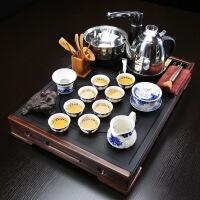 整块乌金石头实木盘全自动紫砂壶玻璃杯汝窑茶海小号家用茶具套装 25件