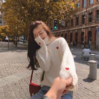 高领毛衣女冬加厚宽松慵懒风外穿韩版学生甜美百搭针织衫上衣日系