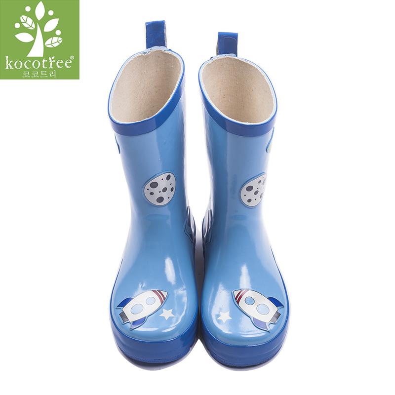 kocotree儿童雨鞋防滑儿童雨靴环保橡胶男童女童雨鞋小孩水鞋宝宝雨鞋透气舒适 防滑防水