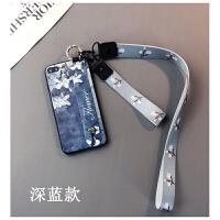 中国风兰花款iphone6s plus手机壳苹果7挂绳8支架X情侣潮6女防摔软胶Xs保护套 ipon 苹果plus/p