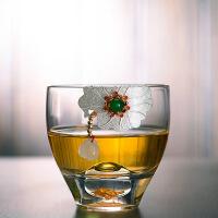 耐热加厚玻璃茶杯单个主人杯手工镶银茶碗家用功夫茶具品茗杯子小 镶银茶杯