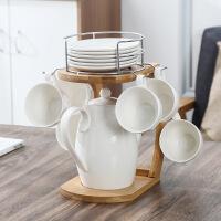 陶瓷创意咖啡杯套装英国下午茶器具简约家用办公室北欧杯具 空中楼阁 14件