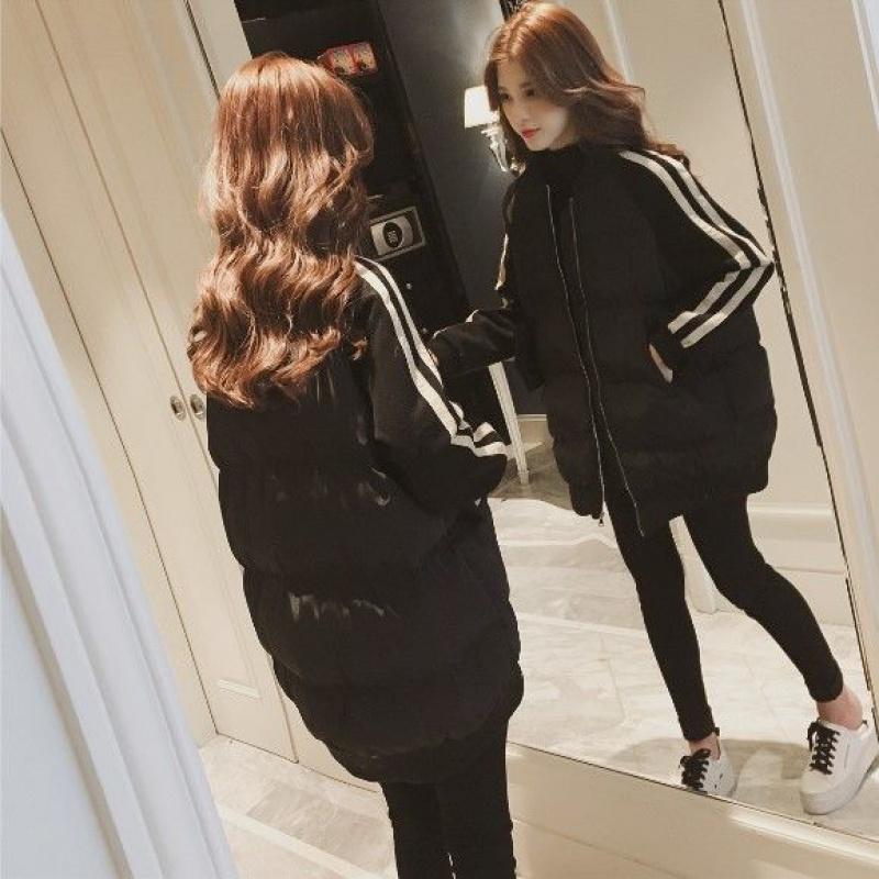 大码女装冬装外套胖mm200斤棉衣韩版加厚中长款学生棉袄 黑色