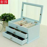 木质化妆品收纳盒 大号创意桌面储物盒整理柜 梳妆台收纳架