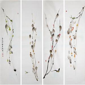 花鸟四条屏《藤》于洪顺 实力派画师R4033