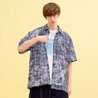 2折价:81;Lilbetter男士衬衫休闲印花短袖格子衬衣潮流帅气男寸衫夏季开衫