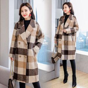 2018流行格子仿呢子羊绒大衣女中长款秋冬新款毛呢外套