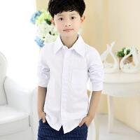 男童白衬衫长袖白色衬衣男孩儿童装中大童小学生表演出校服