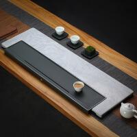天然整块家用大理石茶盘简约现代北欧石头茶台长方形排水茶托茶具
