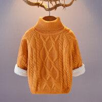 儿童毛衣加绒加厚男女童冬款针织打底衫棉套头高领宝宝毛线衣外套