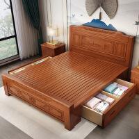 实木床1.8米双人床雕花高箱储物床中式1.5床主卧仿古家具仿 +床头柜*2