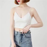 夏季韩版V领吊带背心女修身内搭带胸垫短款黑色打底上衣外穿性感 白色 短款