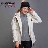 【品牌特惠】诺诗兰女士防风保暖防水透湿三合一加厚潮牌冲锋衣GS062614