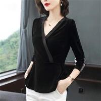 大码女装V领秋冬季丝绒上衣T恤女士显瘦长袖时尚气质打底衫女 黑色 M 90-105斤