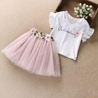 女童套�b夏�b短袖T恤棉中大童小女孩衣服�裙短裙�杉�套3-14�q 粉色小花套�b 110cm