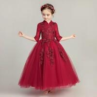 女童礼服公主裙儿童晚礼服婚纱长袖前短后长小花童钢琴演出服秋冬