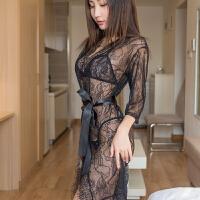 透明蕾丝性感情趣内衣女三件套装诱惑睡衣(文胸+T裤+外套+腰带) 黑色 均码