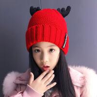 圣诞儿童帽子 秋冬季圣诞儿童毛线帽加厚加绒针织帽子女中大童韩版潮保暖子帽 均码