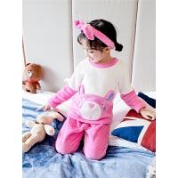 女童睡衣珊瑚绒儿童法兰绒秋冬季家居服套装加厚宝宝小童女孩冬款