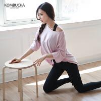 【折上1件8折/2件7.5折】Kombucha瑜伽健身两件套2019新款女士速干透气宽松半袖T恤蜜桃提臀长裤运动套装HXFH008T2