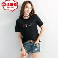 2019韩版夏装女式宽松时尚字母印花t恤女短袖上衣百搭打底衫批发