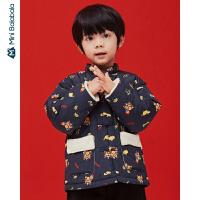 【限时1件6折 2件5折】迷你巴拉巴拉儿童棉服男童2019冬季新款中国风珊瑚绒男宝宝棉衣