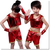 六一�和�演出服�b爵士舞街舞蹈�F代舞幼��@男女童�h保亮片表演服 �t色 150建�h身高130-140cm