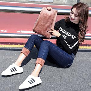 加绒牛仔裤女2019新款港味风修身显瘦小脚紧身铅笔裤潮