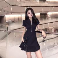 2019女装新款夏设计感显瘦小黑裙性感流行夏天裙子气质高端连衣裙