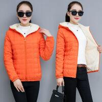 棉衣女短款韩版冬装时尚加绒小棉袄女士修身连帽外套 M 建议95-105斤