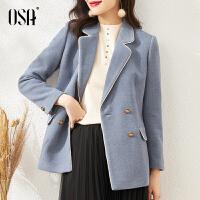 【3折折后价:369元】OSA欧莎气质毛呢外套女春秋季2021年新款高端显瘦小个子呢子大衣