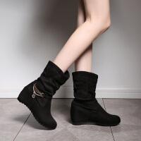 彼艾2017秋冬季新款中筒靴舒适平底内增高女靴磨砂金属装饰马丁靴女靴子