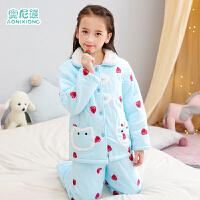 儿童睡衣女冬季厚款三层夹棉中大童女孩宝宝女童家居服套装