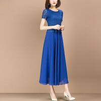 2019新款女装夏装气质蓝色假两件雪纺长裙时尚修身蕾丝连衣裙 蓝色