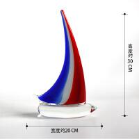 一帆风顺帆船摆件 琉璃 帆船工艺船家居装饰品琉璃工艺品客厅办公室玻璃模型摆件一帆风顺