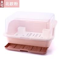 家用厨房大号碗筷收纳盒多功能带盖沥水碗碟架加厚防尘塑料置物架