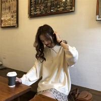 学院风polo领纯色毛衣女学生秋冬韩版宽松百搭显瘦打底针织衫