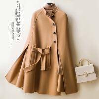 双面呢羊绒大衣斗篷外套女侧开襟收腰宽松呢子小个子毛呢外套