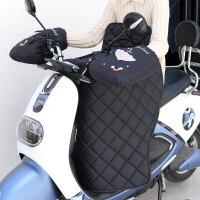 电瓶车挡风被冬季加绒加厚分体电动车挡风保暖摩托车挡风防水护膝 黑色 (大口)雨伞 绗缝分体套装