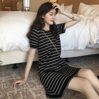 连衣裙女夏2019新款女装港风小个子气质短裙复古黑白条纹chic裙子