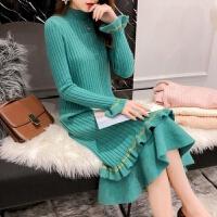 针织毛衣连衣裙秋冬女装喇叭袖甜美荷叶边加厚打底长袖过膝毛衣裙