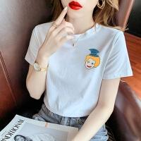 欧洲站夏新款韩版卡通印花白色修身短袖T恤女洋气上衣